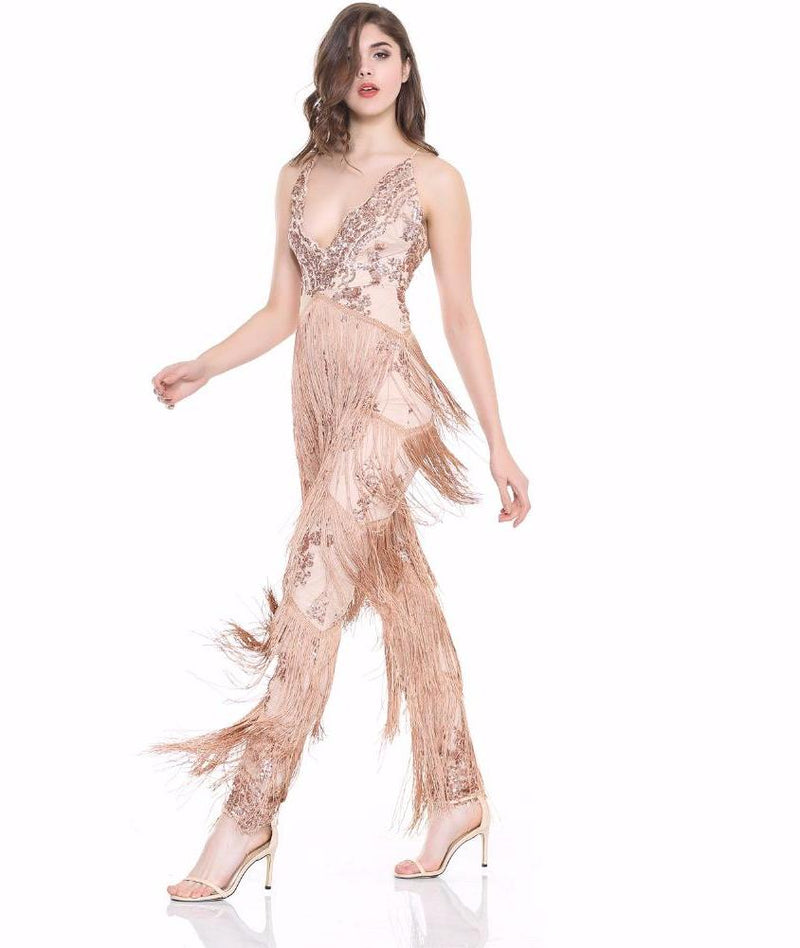 Sexy V-Neck Sequins With Tassel Stitching Jumpsuits Nude Laveliq - Laveliqus
