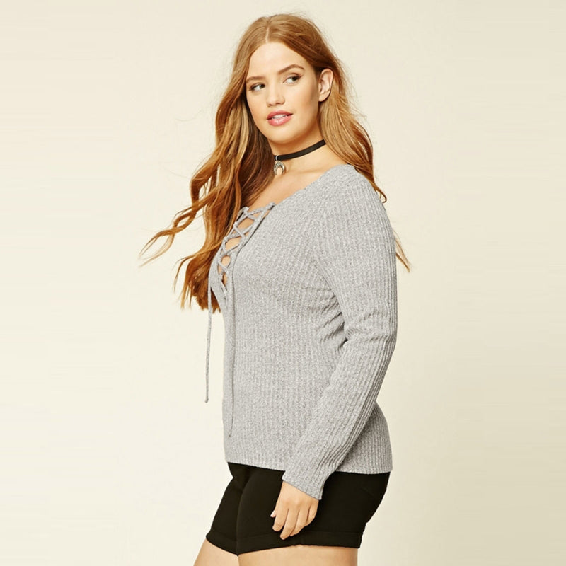Plus Size Women Clothing Casual Solid Long Sleeve Sweater LAVELIQ - Laveliqus