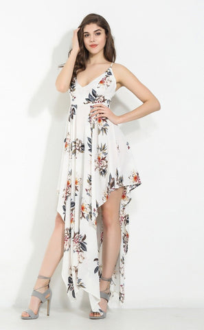 White Print V-Neck Irregularity Maxi Dress LAVELIQ