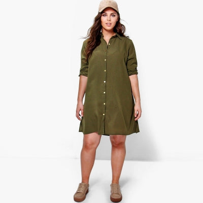 Plus Size New Fashion Women Clothing Casual Solid Embroidery Dress LAVELIQ