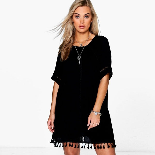 Plus Size Lace Dress O-Neck Short Sleeve Mini Dress LAVELIQ - Laveliqus