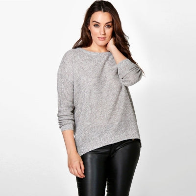 Plus Size Casual Knitted Loose Pullover Warm Zipper Slim Sweater LAVELIQ
