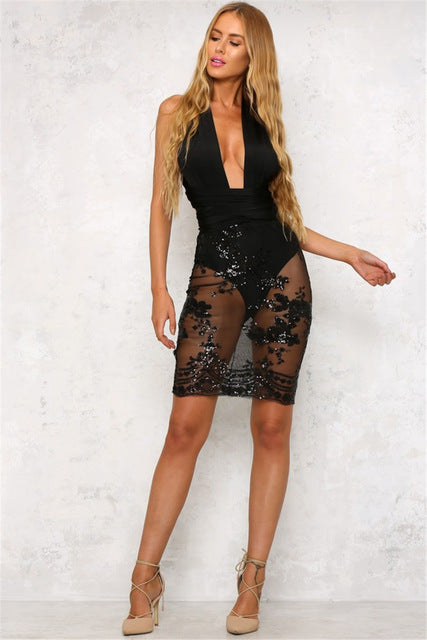 Backless sexy women dress chic sequined Laveliq - Laveliqus