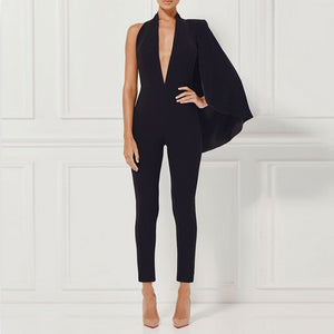 Women Black Deep V Neck Bodycon  Jumpsuit LAVELIQ - Laveliqus