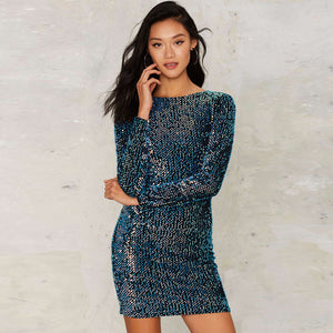 Velvet Dress Women Blue Sequined Sexy Elegant Sheath Vestidos Long Sleeve High Waist Backless Mini Dresses Laveliq - Laveliqus