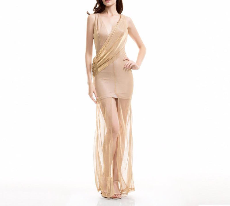 Gold Irregular V-Neck Maxi Dress Laveliq - Laveliqus