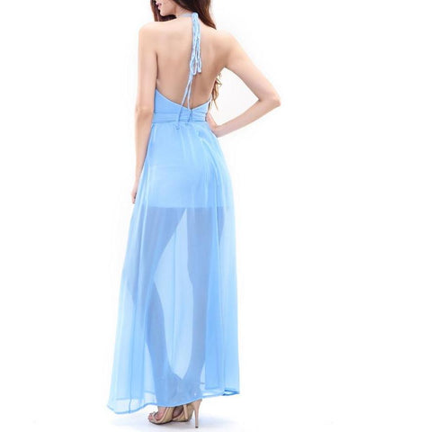 Sky Blue V-neck Halter Chiffon Maxi Dress LAVELIQ
