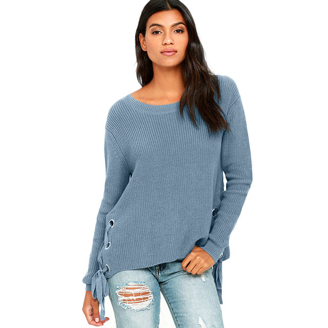 Fashion Knitted Tops Women Long Sleeve Female Pullover Tops Style Solid Casual Ladies Sweater Laveliq - Laveliqus