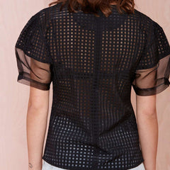 Black Mesh Short Sleeve Patchwork Top Blouse