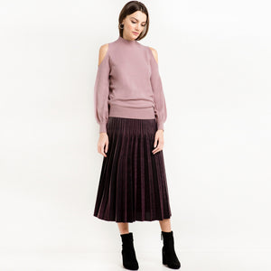 Sweater Women Casual Solid Pink Lantern Sleeve Pullovers Preppy Off-shoulder O-neck Autumn Sweater Laveliq - Laveliqus