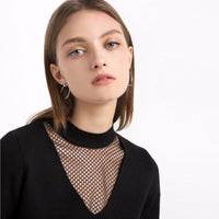 Apparel New Women Sweater Solid Black Sexy Sheer Mesh Patchwork Female Top Streetwear Brief Lady Pullover Tops Laveliq - Laveliqus
