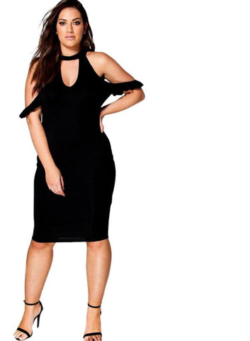 Plus Size Fashion Women Clothing Casual Off-Shoulder Bodycon Dress Laveliq