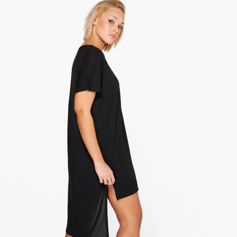 Plus Size Casual Solid Split Summer Dress LAVELIQ