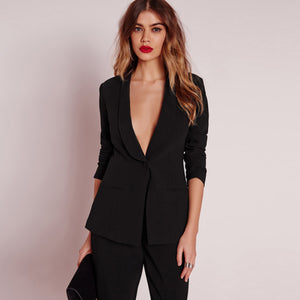 Solid Black Women Blazer Long Sleeve One Button Pocket Brief Elegant Coats Mid-Waist Slim Chic Laveliq - Laveliqus