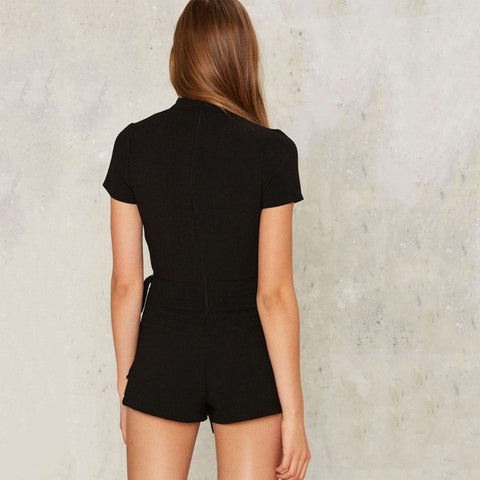 Solid Black Women Playsuits