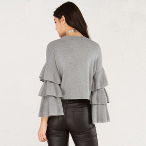 Fashion Ruffles Sweater Women Casual Butterfly Sleeve Solid Gray Laveliq - Laveliqus