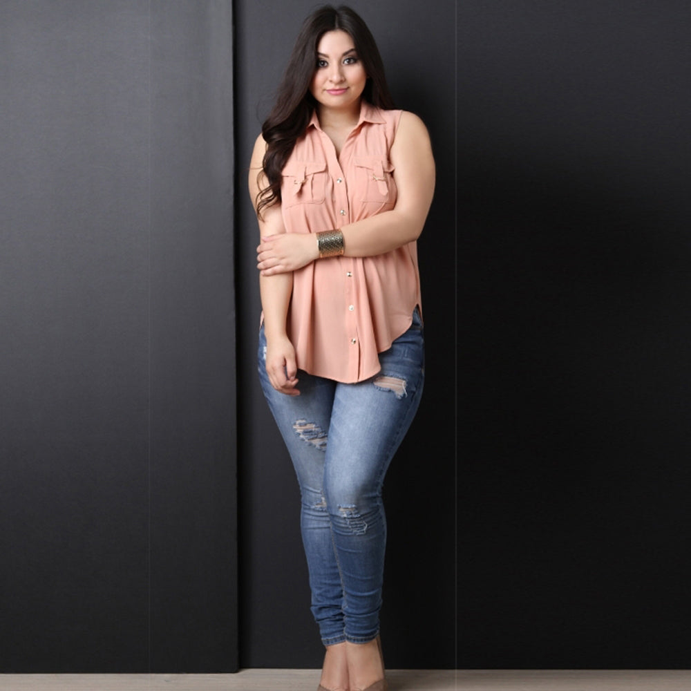 Casual Solid Sleeveless Plus Size Top LAVELIQ - Laveliqus