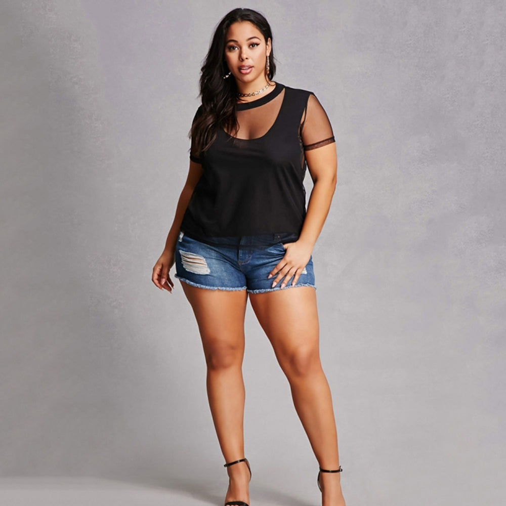 Sexy Solid Hollow Out Mesh Patchwork Brief Plus Size Top LAVELIQ - Laveliqus
