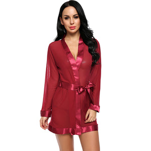 Long Sleeve Sheer Mesh Satin Patchwork Nightwear Lingerie - Laveliqus