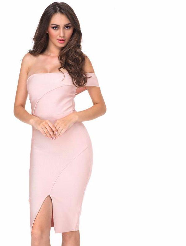 Bandage Dress Nude Off Shoulder Knee-length Cut Luxury sexy Cocktail Party Prom Bodycon Dress Laveliq - Laveliqus