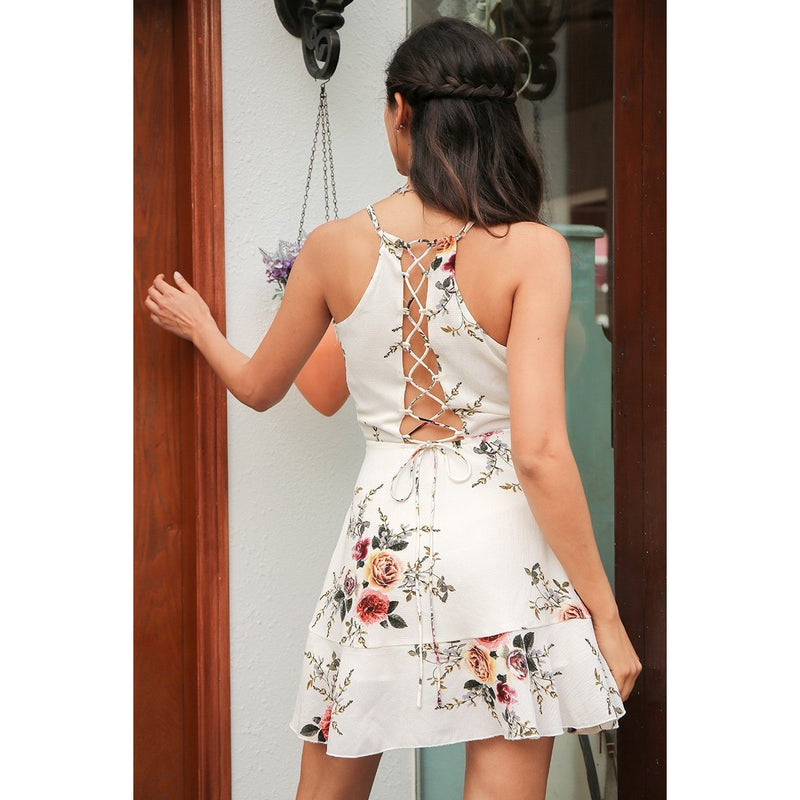 A-Line Ruffles Floral Print Summer Deep V Neck Backless Party Short Dress LAVELIQ - Laveliqus