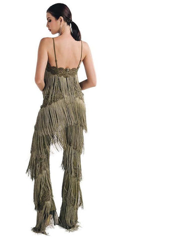 Sleeveless V Neck Halter Lace Tassel  Fringe Jumpsuit