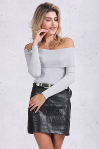 Off Shoulder Elastic Winter Sweater LAVELIQ - Laveliqus