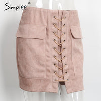 Autumn lace up suede leather women skirt 90's Vintage pocket Laveliq - Laveliqus