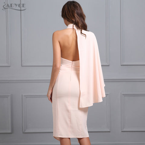 Celebrity Runway Midi Dress Pink deep V-Neck One-shoulder Laveliq