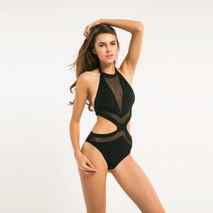 Black Cut Out Mesh Bodysuit Top LAVELIQ - Laveliq