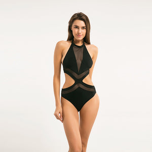 Black Cut Out Mesh Bodysuit Top LAVELIQ - Laveliqus