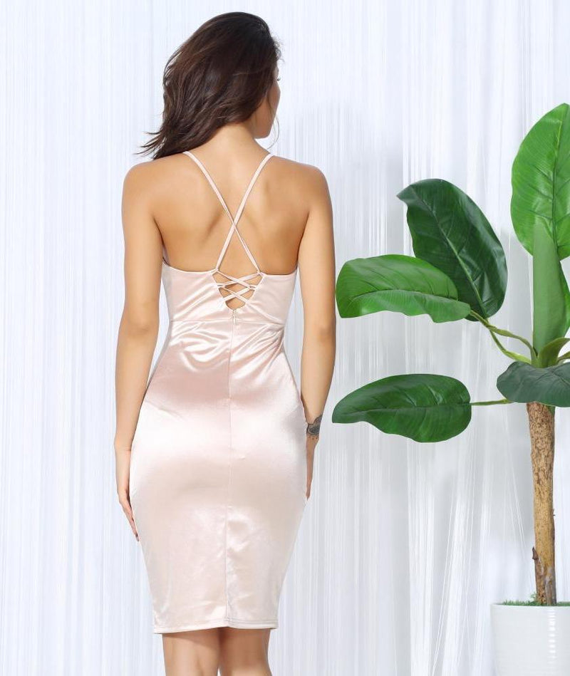 Sexy V Neck Nude Halter Cross Bodycon Party Dress Laveliq - Laveliqus