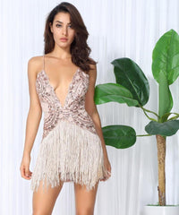 Sexy Gold Flower Vines Sequined V Collar Exposed Tassel Bodycon Party Dress  Laveliq - Laveliqus