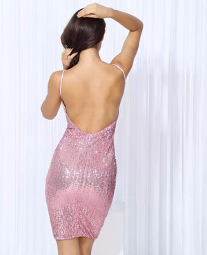 Sexy Pink V-Neck Elastic Sequins Halter Bodycon Party Dress Laveliq SALE - Laveliqus