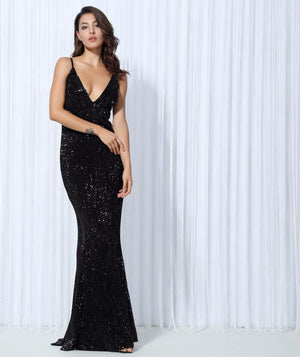 Sexy Black  Elastic Sequin V Collar Exposed Back Maxi Dress  Laveliq - Laveliqus