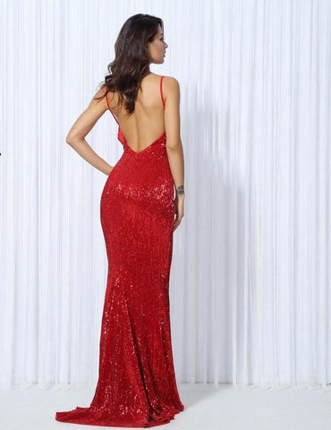 Sexy Red Elastic Sequin V Collar Exposed Back Maxi Dress  LAVELIQ