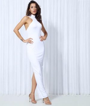 White High Collar Halter Elastic Material Maxi Dress  LAVELIQ - Laveliqus