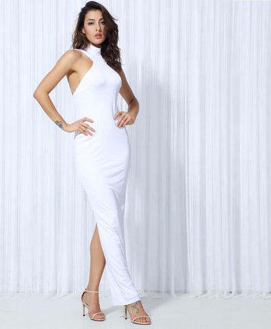 White High Collar Halter Elastic Material Maxi Dress  Laveliq