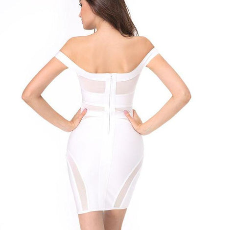 White bandage dress with mesh  laveliq
