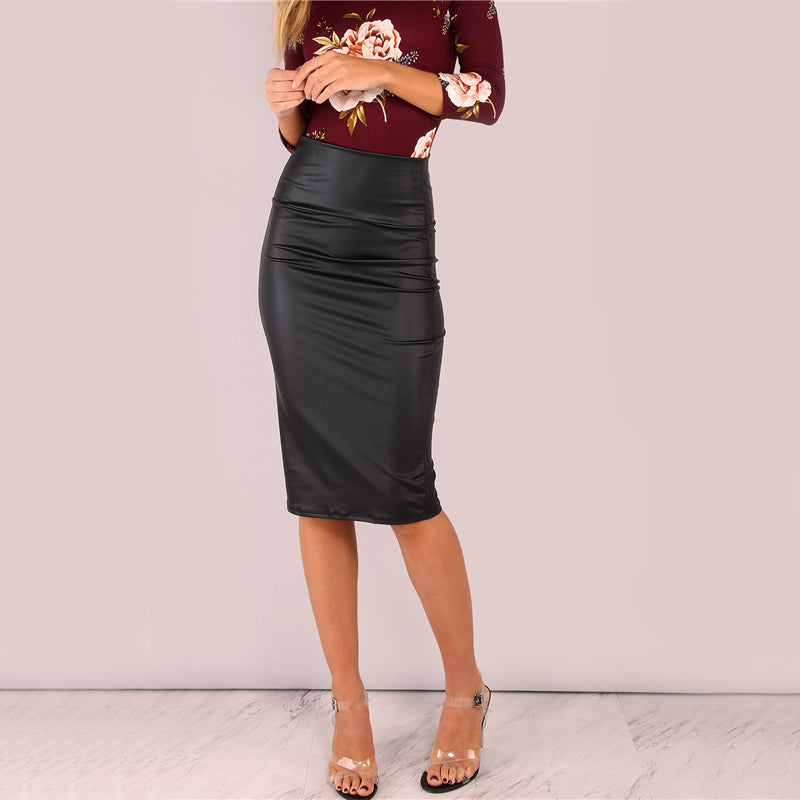 Black Coated Midi Pencil Skirt LAVELIQ