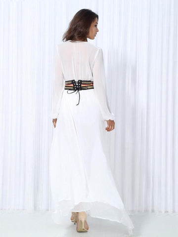 White V-Neck Bohemian Belt Chiffon Long Sleeve Maxi Dress LAVELIQ