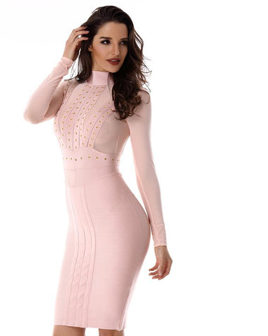 Long sleeve high neck pencil midi bandage dress