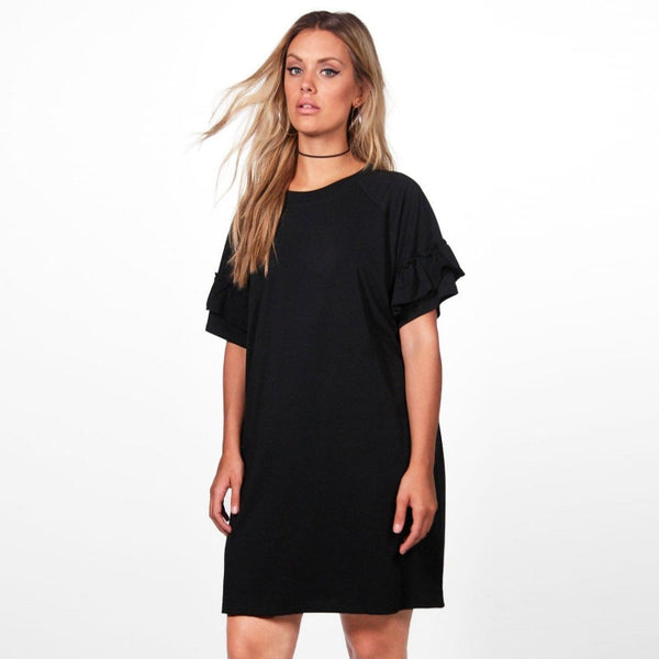 Plus Size Solid Short Sleeve Casual Party Dress LAVELIQ