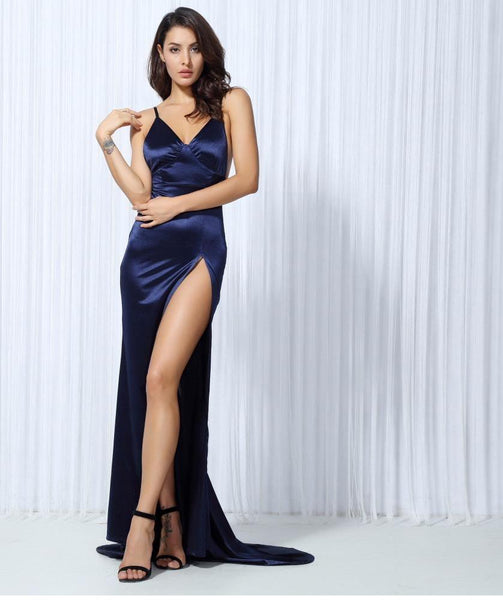 Sexy Navy Blue V Collar Cut Out Party Maxi Dress  Laveliq