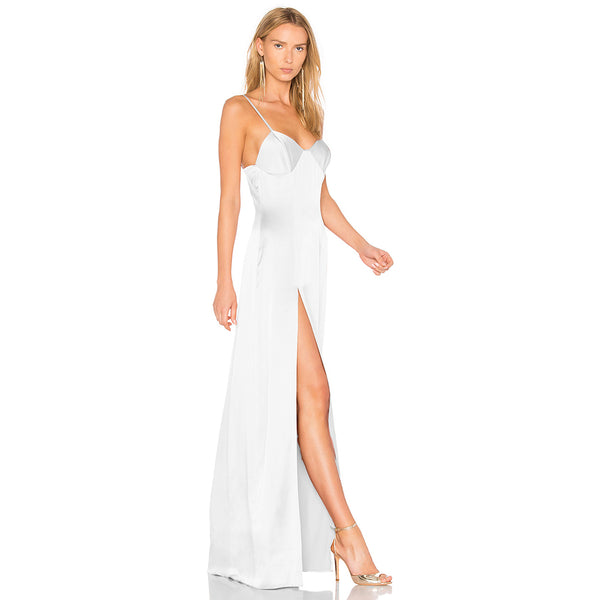 Solid White Backless Strap Long Dress Sexy Side Split Sleeveless Laveliq