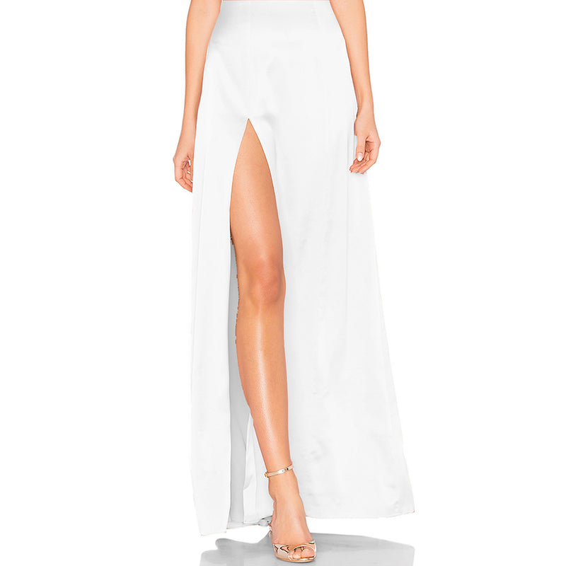 Solid White Backless Strap Long Dress Sexy Side Split Sleeveless Laveliq - Laveliqus