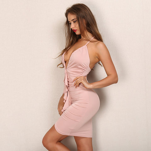 Romantic Ruffles Pink Summer Dress Elegant Backless Knee Length Midi Laveliq SALE