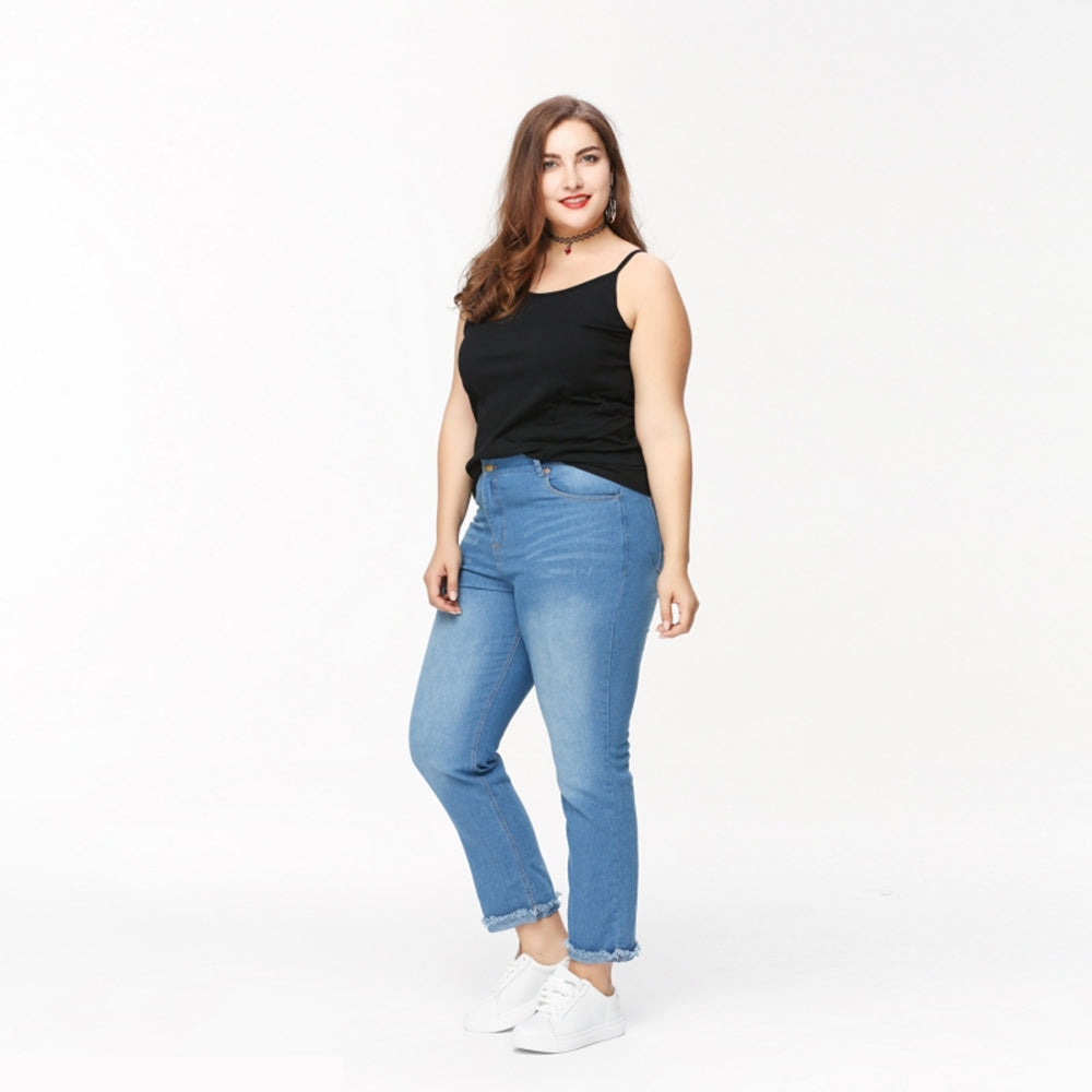 56e5cec53148c Plus Size Skinny Jeans Women Big Size Denim Trousers Big Size Hole Casual  Lavleiq