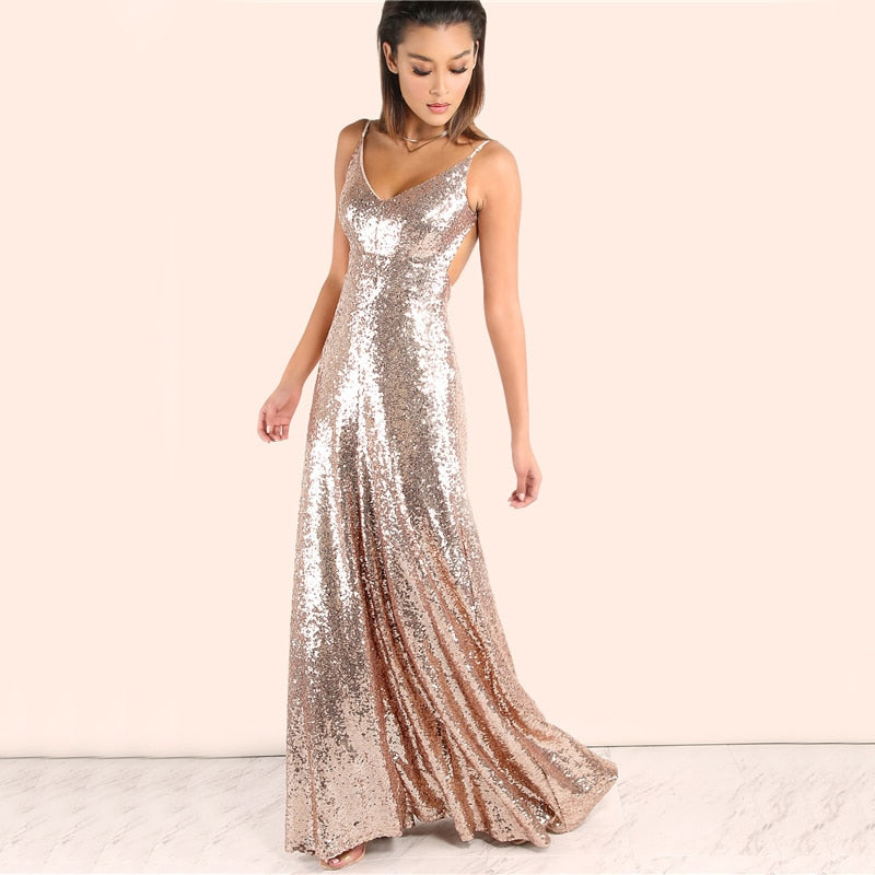 Rose Gold Sequin Party Maxi Dress LAVELIQ