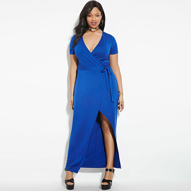 Plus Size Bodycon Belted Wrap Long Dress LAVELIQ - Laveliqus